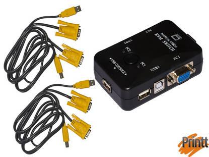 Immagine di SWITCH KVM MANUALE PER 2 PC USB/VGA CON 1 MOUSE, 1 TASTIERA USB E 1 MONITOR VGA CON CAVI INCLUSI