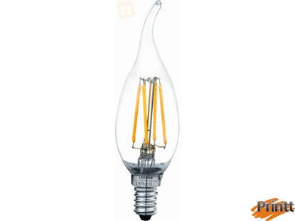 Immagine di Lampadina candela  colpo di vento a filamento 4W, E14 luce calda  3000K