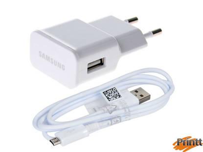 Immagine di Caricabatterie da rete samsung 2A + Cavo dati Samsung micro usb white