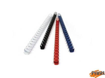 Immagine di 50 DORSI PLASTICI 21 ANELLI 25MM BIANCO TiTanium